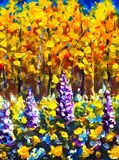 Big Flowers in autumn forest. Autumn sunny day in orange gold forest. Purple, white, blue big flowers in forest Beautiful magic fo. Original oil painting Big royalty free stock image