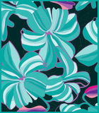 Big flowers on a dark turquoise background Stock Images