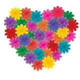 Big Flowers on heart Stock Photos