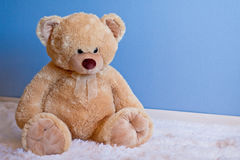 Big fluffy teddy bear in front of blue wall. A big, soft, tan colored teddy bear sits on a white fluffy rug in front of a textured blue wall. He has a sweet royalty free stock photos
