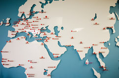 Big flying white map for Europe,Asia,Africa  with city destinations Stock Image