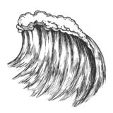 Big Foamy Tropical Sea Marine Wave Storm Vector. Giant Water Wave Caused By Strong Wind Seascape Element. Motion Nature Aquatic Tsunami Black And White Hand royalty free illustration