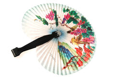 Big folding fan. On white stock image