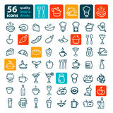Big food icon set. Line icon of food and drink,  set Royalty Free Stock Photos