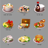 Big food set, nine icons of delicious dishes Royalty Free Stock Photos