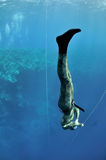 Big Foot scene of a freediving training Stock Images