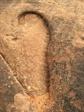 Big Footprint. Found this foot print in int the sand stone in the Arches National Park, Utah. Put down an coin at the lower left to badge the size of the print Stock Photos