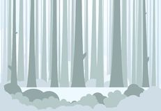 Big forest and meadow. Silhouette of tree trunks, bushes and glowing light on background. Winter or autumn forest background with meadow in the middle to put royalty free illustration