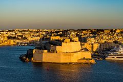 Fort St. Angelo, Malta in sunset. Big fortress Fort St. Angelo in Il-Birgu, Malta Royalty Free Stock Photos