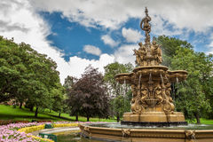 Big fountain in Edinburgh central park Royalty Free Stock Photo