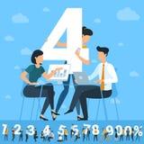 Big Four-aantal Witte aantallenillustratie met jongeren stock illustratie