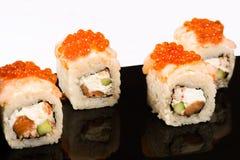 Big four delicious roll with caviar stock photos
