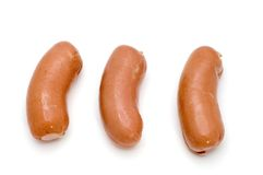 Big frankfurter on white Royalty Free Stock Photo
