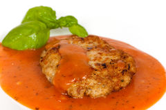 A big fresh hamburger with tomato sauce Royalty Free Stock Image