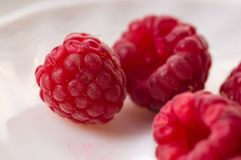 Raspberries on a white saucer close up. Big fresh juicy raspberries on a white saucer close up, selected focus Stock Images