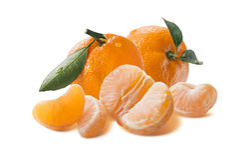 Big fresh mandarin group with peeled segments isolated on white Stock Photos