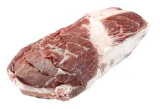 Big Fresh Raw Pork Loin Chop Isolated On White Royalty Free Stock Photography