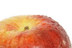 Big fresh red apple macro. Isolated over white Royalty Free Stock Photo