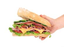 Big fresh sandwich in hands. Stock Photos