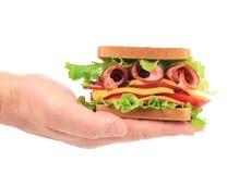 Big fresh sandwich in hands. Royalty Free Stock Photo
