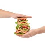 Big fresh sandwich in hands. Stock Photo