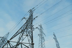 Big frosty power lines among winter. Royalty Free Stock Photography
