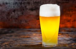 Big frozen glass with freshly poured light unfiltered beer and h Royalty Free Stock Image