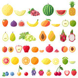 Big fruit vector icons set. Modern flat design. Isolated objects. Stock Photo