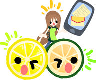 Big fruits and pretty little girls. A girl and a lemon and sweetie having a mobile phone Stock Photos