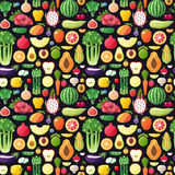 Big fruits and vegetables seamless vector pattern. Modern flat design. Stock Photo