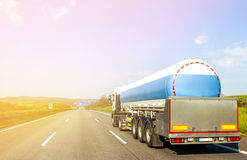 Big fuel gas tanker truck on highway.  Royalty Free Stock Images