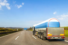 Big fuel gas tanker truck on highway.  Royalty Free Stock Photos