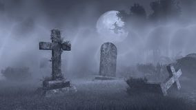 Big Full Moon Above Old Spooky Cemetery Royalty Free Stock Images