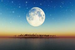 Big full moon behind island Royalty Free Stock Images