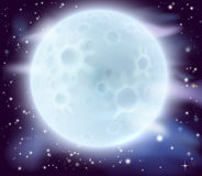 Big full moon. A cartoon illustration of a large glowing full moon Stock Image
