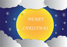 Big full moon and cloud background in the night sky with merry christmas word Stock Image