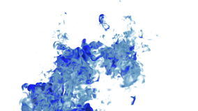 Big fume or ink in water move in slow motion with alpha mask. Use it for background, transition or overlays. 3d motion. Big blue fume or ink in water move in stock video footage