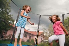 Big fun - childdren jumping Royalty Free Stock Images