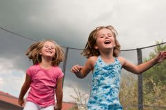 Big fun - childdren jumping Stock Photography