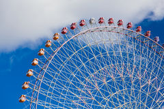 Big funfair ferris wheel with blue sky. Background in Kyoto Japan Stock Photography