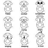 Big Funny dog emotion set vector illustration Stock Photo
