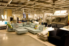 Big furniture store. Comfortable sofas in a big furniture store. Ikea Seattle Royalty Free Stock Photo