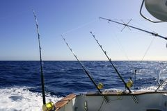 Big game boat fishing in deep sea Royalty Free Stock Image