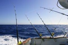 Big game boat fishing in deep sea royalty free stock image