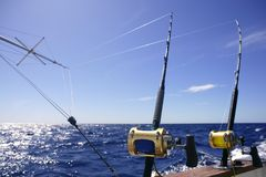 Big game boat fishing in deep sea royalty free stock photography