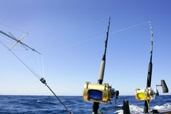 Big game boat fishing in deep sea Royalty Free Stock Images