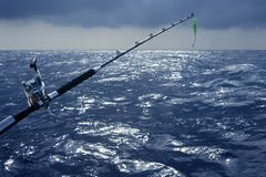 Big game boat fishing in deep sea. On boat royalty free stock photography