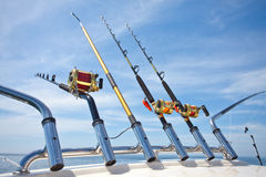 Big game fishing. Reels in natural setting Royalty Free Stock Photo