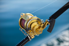 Big game fishing. Reels in natural setting Stock Images
