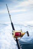 Big game fishing. Reel in natural setting Stock Images